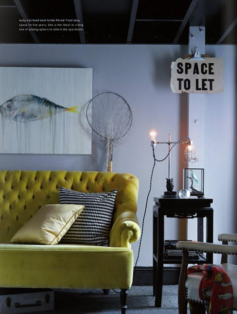Yellow+tufted+sofa