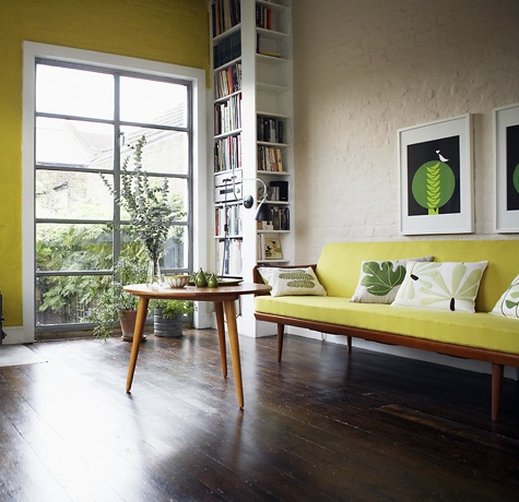 Yellow-wall-yellow-modern-sofa